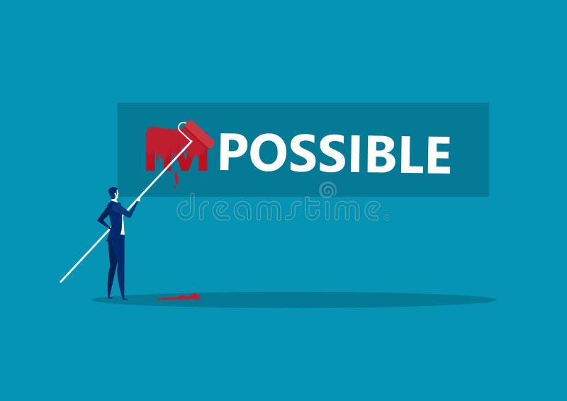 Empresario Cambiando la palabra imposible a posible con fondo azul rojo color ilustración del vector