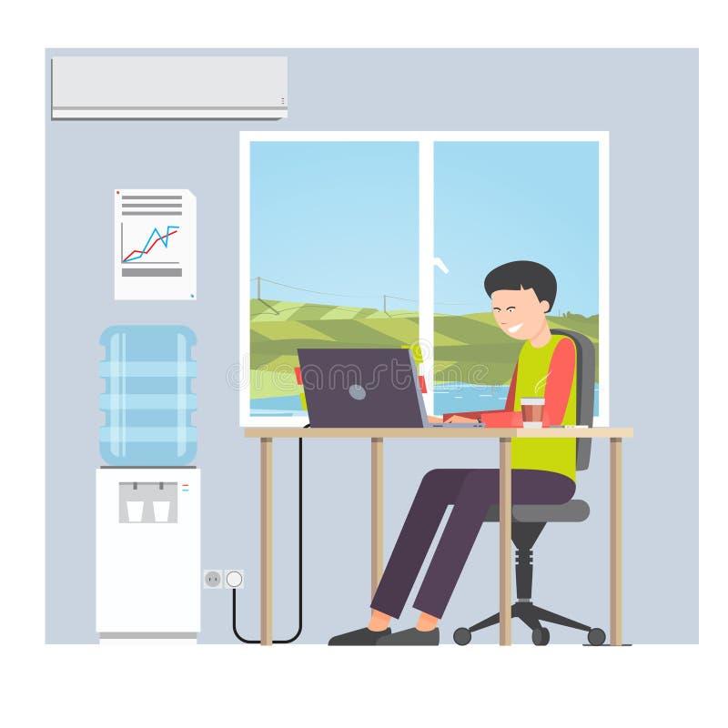 Empresario del hombre de negocios en un traje que trabaja en el ordenador portátil ilustración del vector