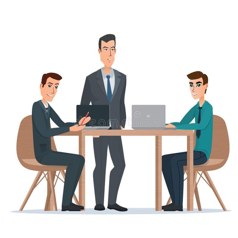 Empresario del hombre de negocios en un traje que trabaja en un ordenador portátil libre illustration
