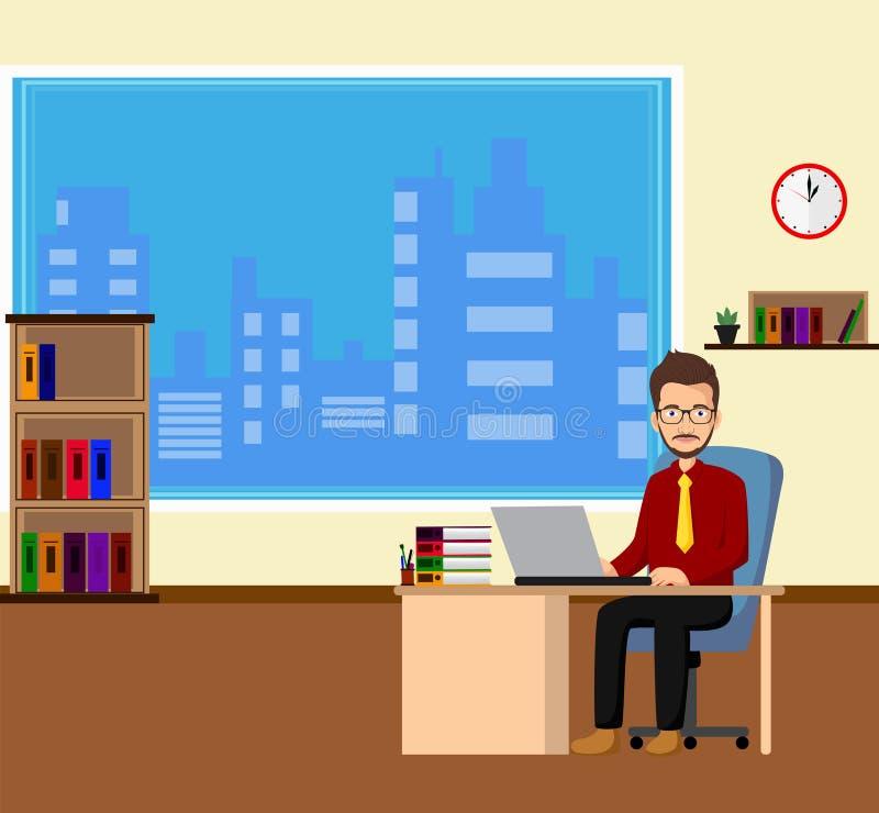 Empresario del hombre de negocios en un traje que trabaja en su escritorio de oficina libre illustration
