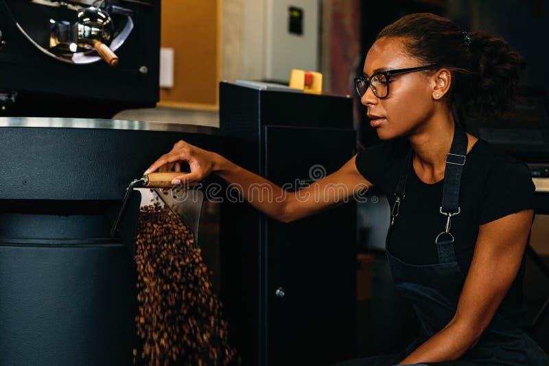 Empresario joven que trabaja en la producción del café imagen de archivo