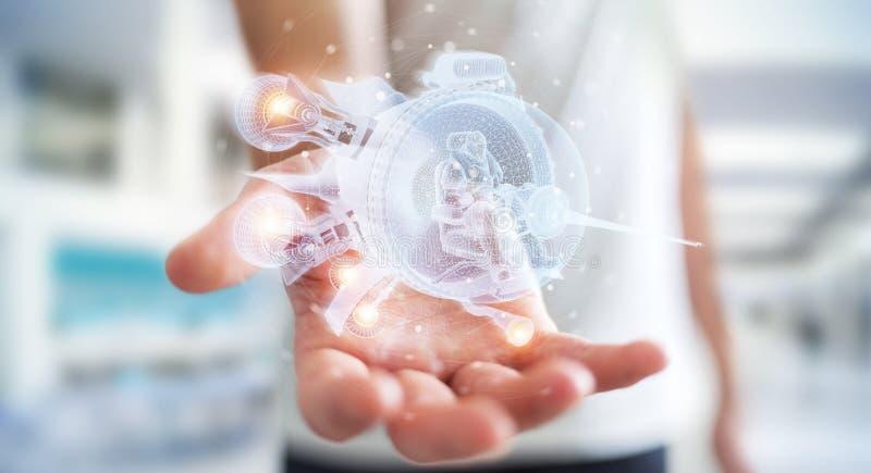 Empresario sosteniendo la nave espacial holográfica en sus manos, representación 3D imágenes de archivo libres de regalías