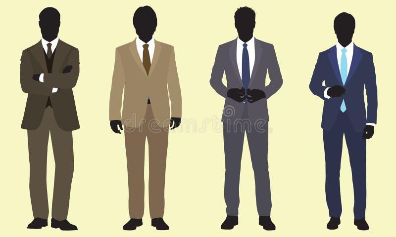 Empresarios Bien Vestidos Con Piel De Silueta ilustración del vector