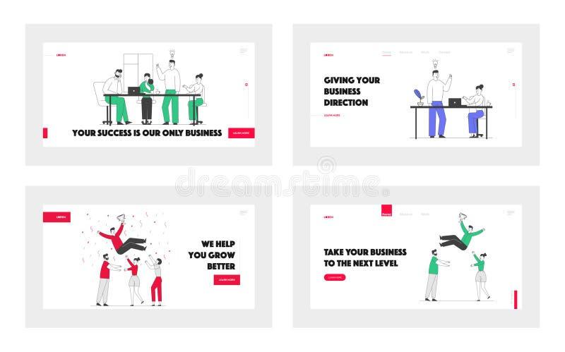 Empresarios celebran el lanzamiento de la página web de Victory, Brainstorm y Teamwork Process Éxito en el trabajo en equipo libre illustration