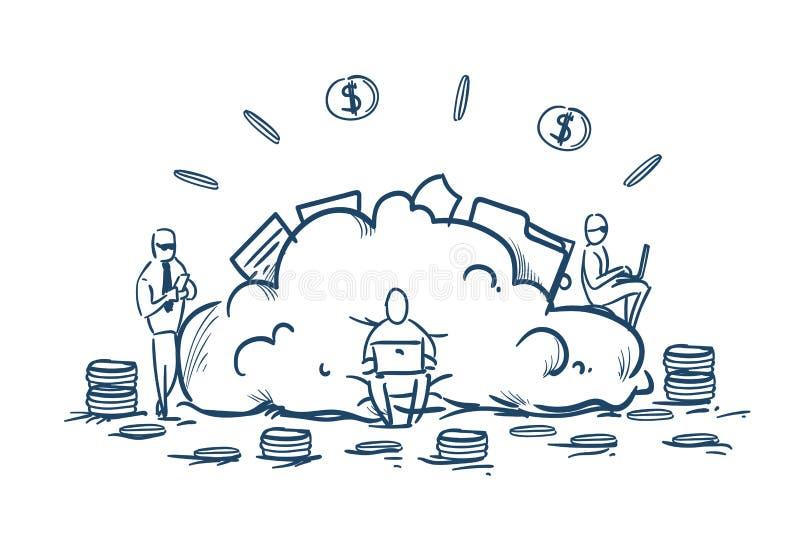 Empresarios del almacenamiento de datos de la nube que trabajan la pila de la moneda del dólar del dinero del concepto de los ser libre illustration