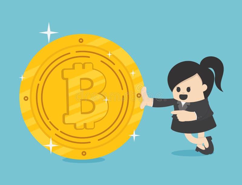 Empresarios del concepto que tienen éxito en mujer de negocios Bitcoins libre illustration