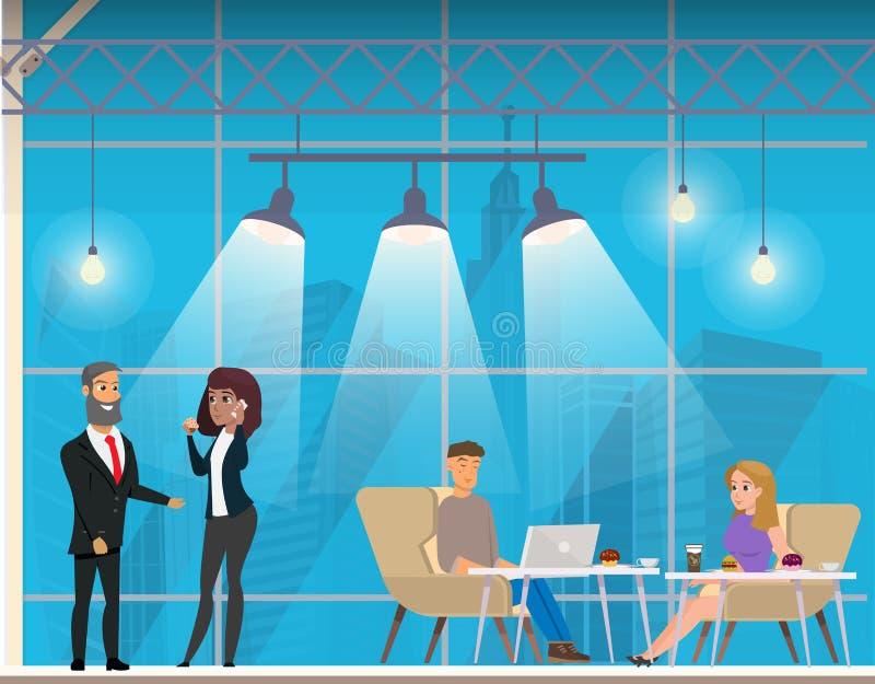 Empresarios en el espacio abierto moderno de Coworking libre illustration