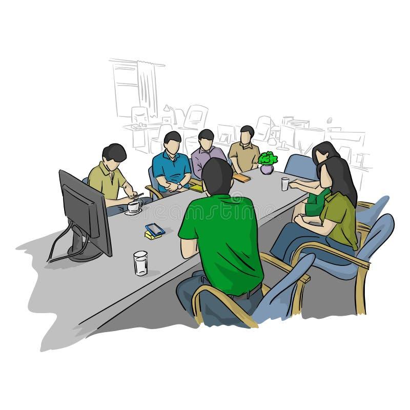 Empresarios en la reunión de negocios para los problemas que solucionan futuros en la mano del garabato del bosquejo del ejemplo  ilustración del vector