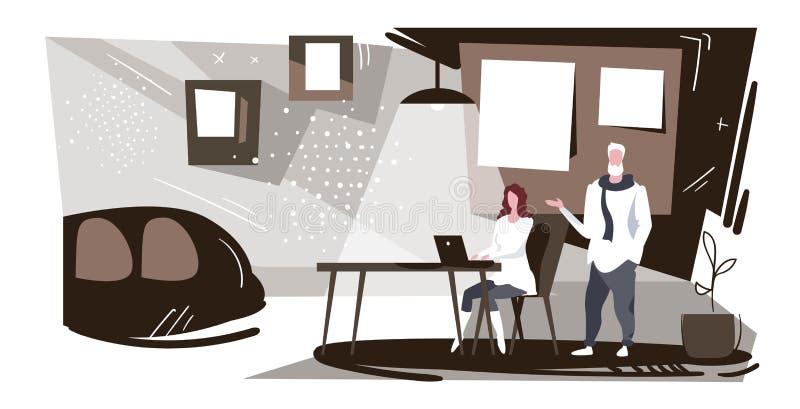 Empresarios en pareja trabajando juntos hombre de negocios dictando información a asistente mujer escribiendo texto en laptop libre illustration