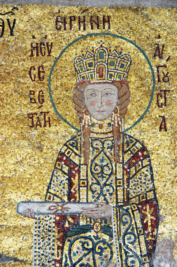 Empress Irene, Hagia Sofia in Istanbul. Empress Irene is offering a scroll, mosaic from Hagia Sofia in Istanbul, Turkey stock photo