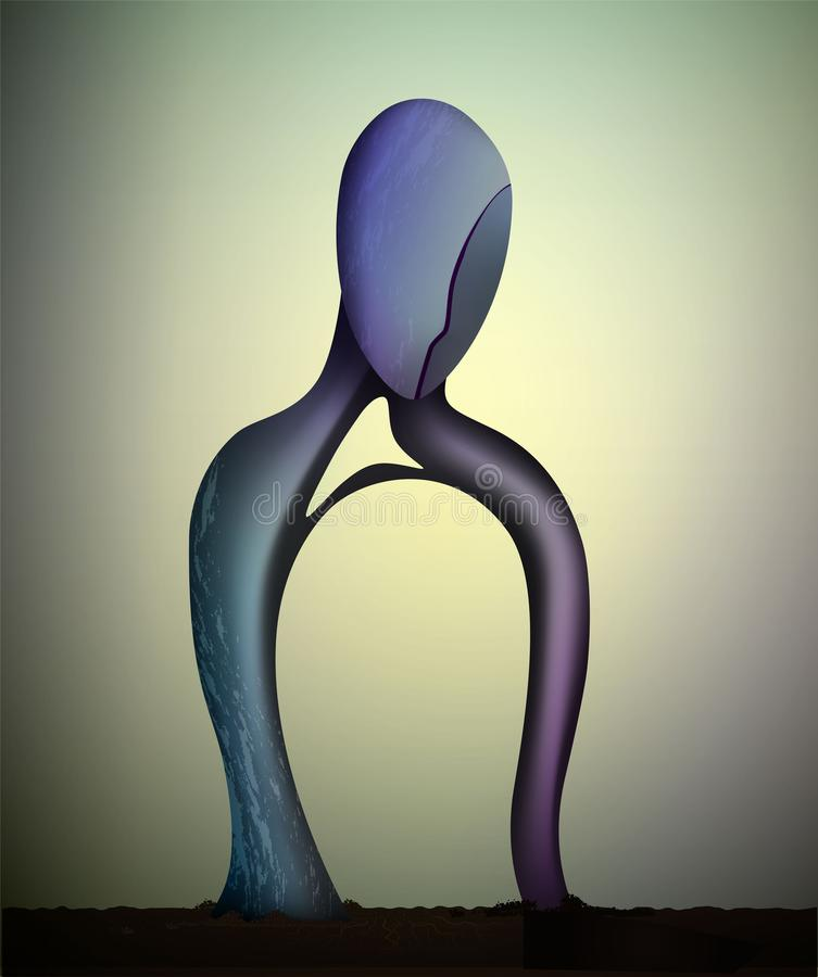 Emptiness inside, color and soul shape, vector, men body shape empty inside, vector illustration