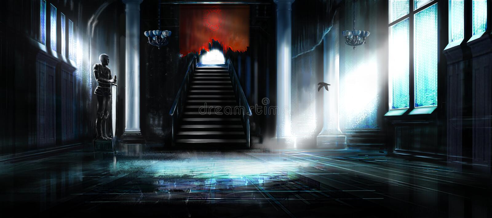 Empty abandoned hall of castle royalty free illustration