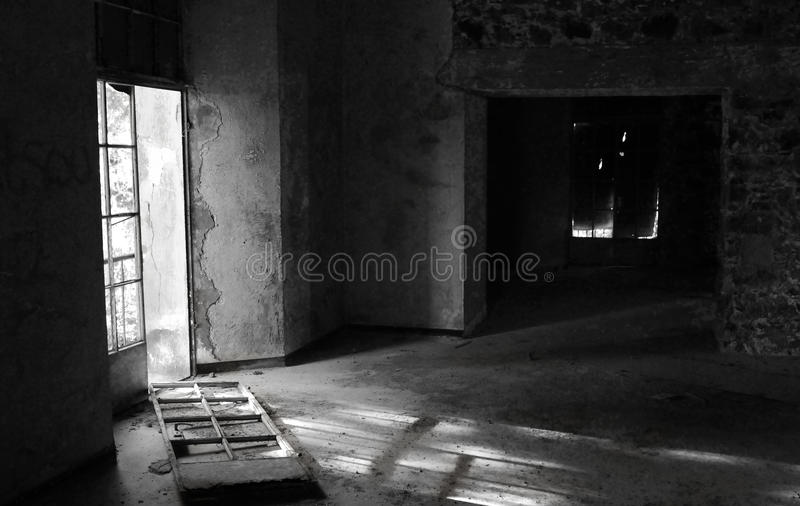 Empty abandoned hotel room stock images