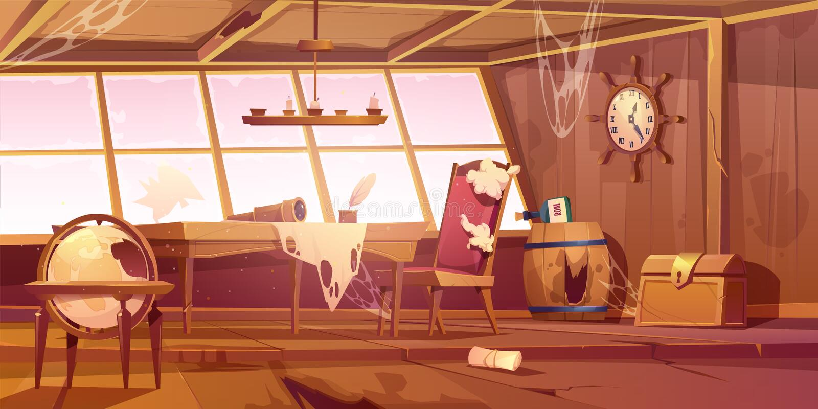 Empty abandoned old pirate ship cabin vector illustration