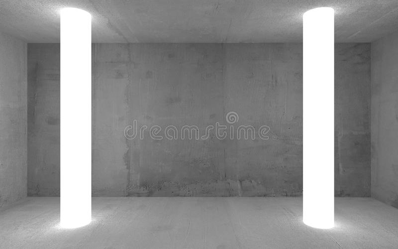 Empty abstract concrete show room with the glowing light and copy space. Modern exhibition studio mockup for product vector illustration