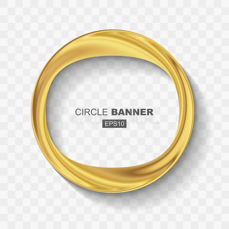 Empty Abstract Golden Shiny Ring Banner stock illustration