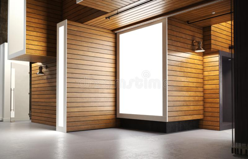 Empty abstract open interior of a home apartment or business commercial area with wood modern accent designs . 3d rendering stock image