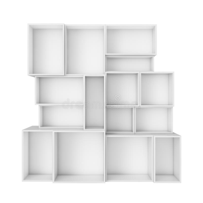 Empty abstract white shelves isolated on white background stock illustration