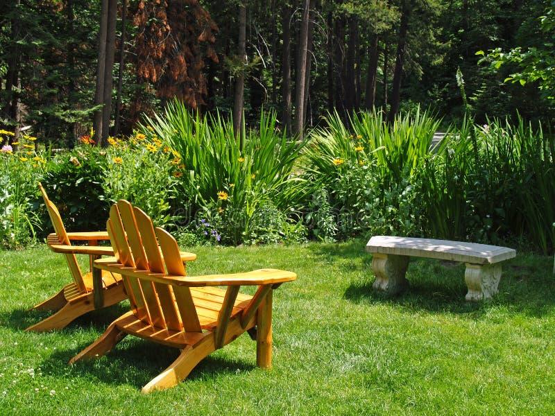 Empty Adirondack Chairs royalty free stock photography