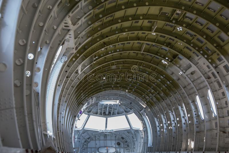 Empty airplane airframe / fuselage. Without any equipment and no panels installed stock images