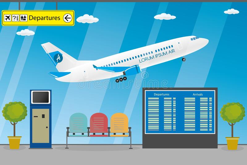 Empty airport , terminal furniture and interior,airplane takeoff. Flat vector illustration vector illustration