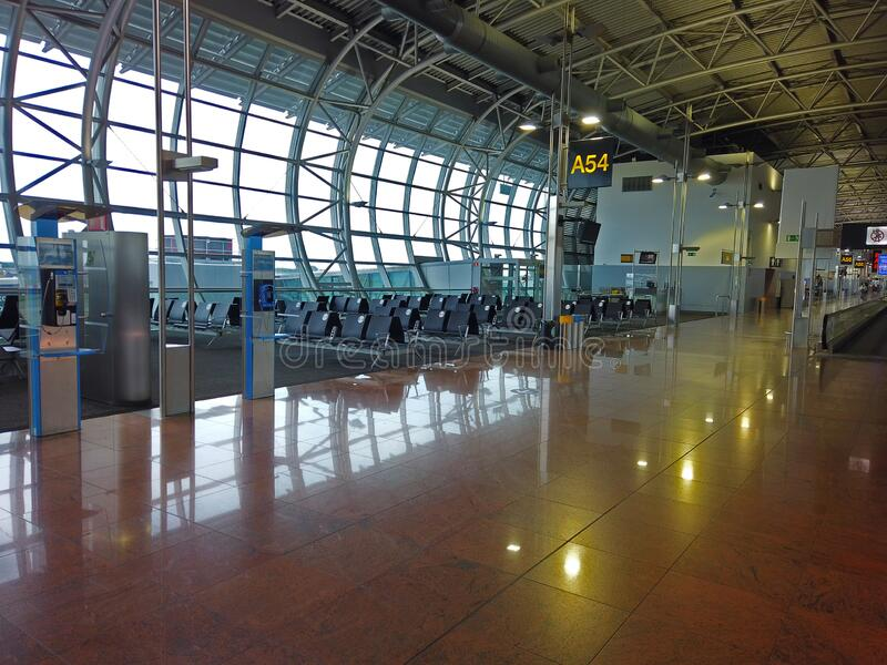Empty airport terminal waiting area royalty free stock photography