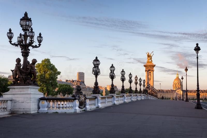 Empty Alexander III bridge in Paris in the early morning. France stock photos