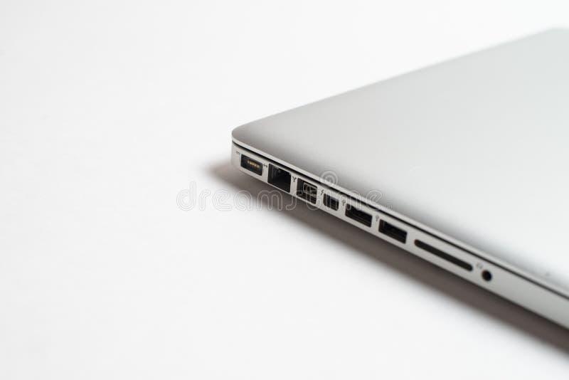 Empty Aluminum USB port, SD card port, Charge and Ethernet aluminium port stock photography