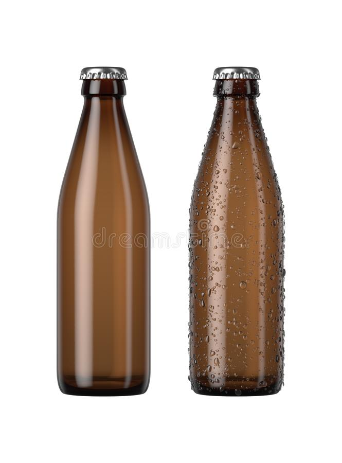 Empty Amber Beer Bottle. A plain amber glass beer bottle next to another with droplets of condensation on an isolated white studio background - 3D render vector illustration