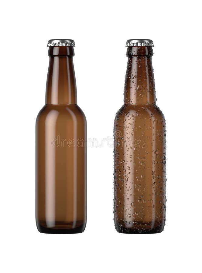 Empty Amber Beer Bottle. A plain amber glass beer bottle next to another with droplets of condensation on an isolated white studio background - 3D render stock illustration