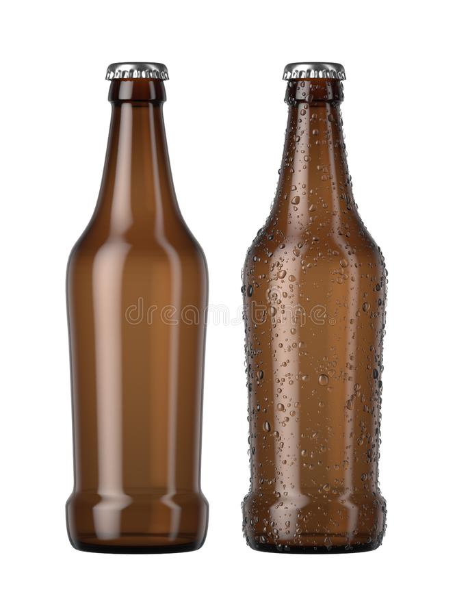 Empty Amber Beer Bottle. A plain amber glass beer bottle next to another with droplets of condensation on an isolated white studio background - 3D render royalty free illustration