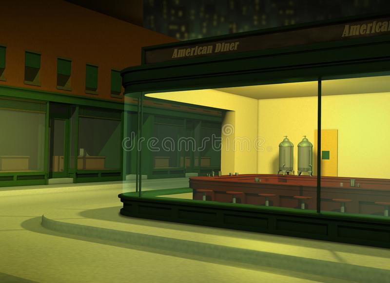 Empty American Diner at Night stock image
