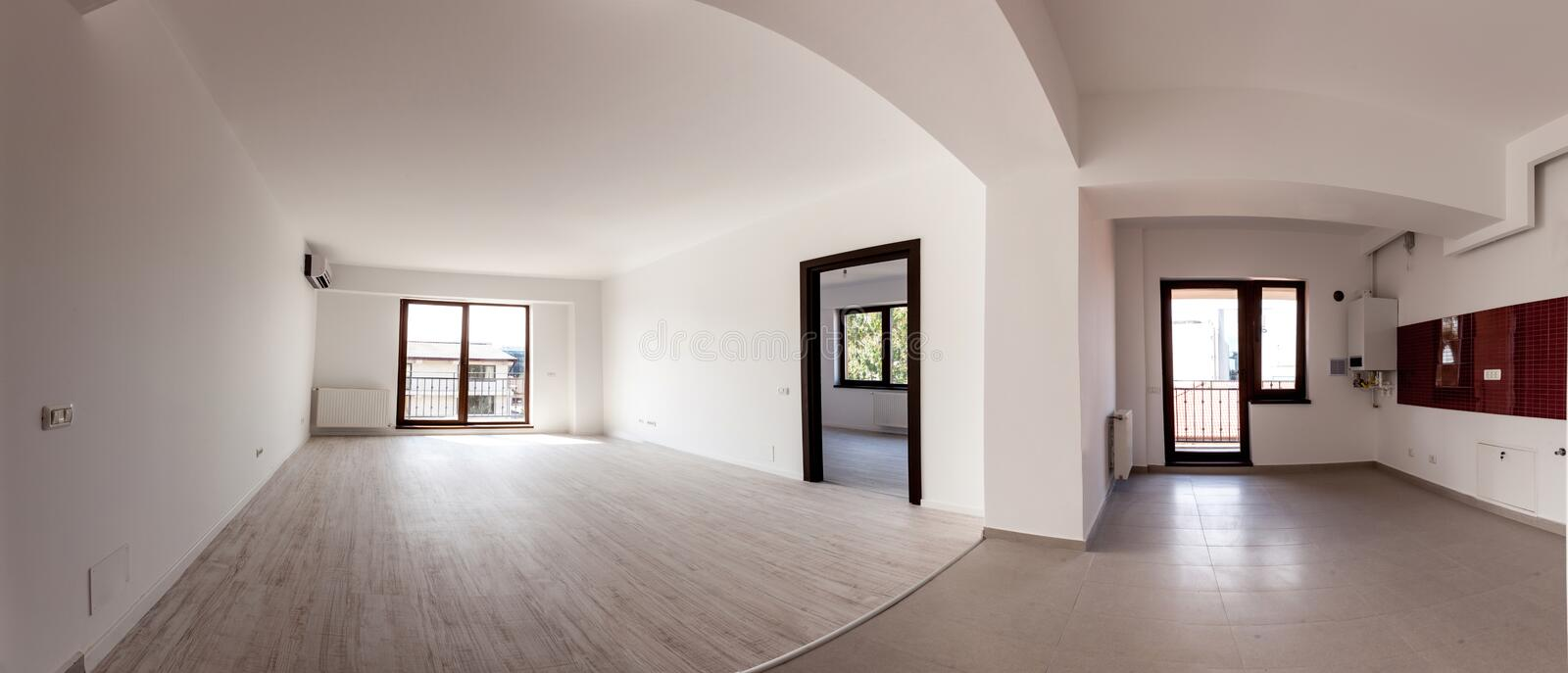 Empty apartment - panorama stock photo