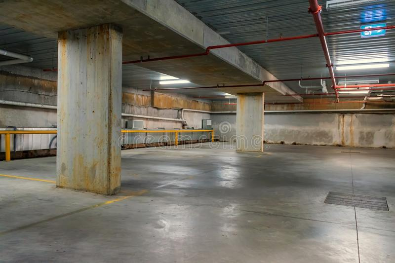 Empty appartment building underground parking royalty free stock photo