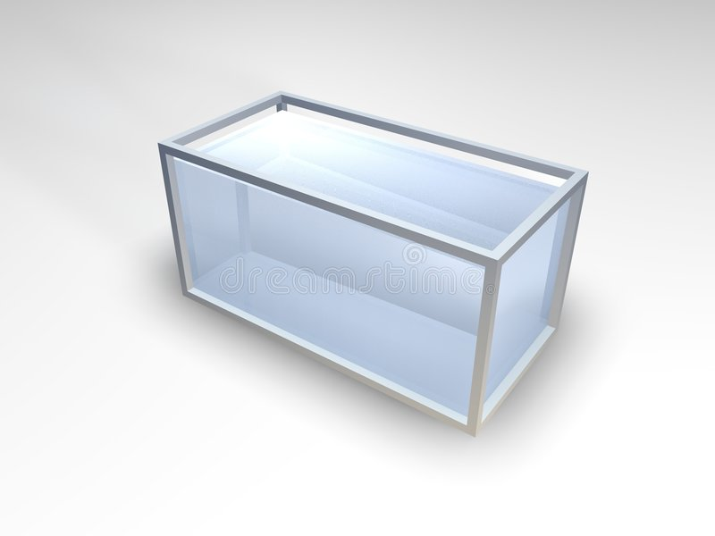 Empty aquarium. A 3D picture of an empty aquarium