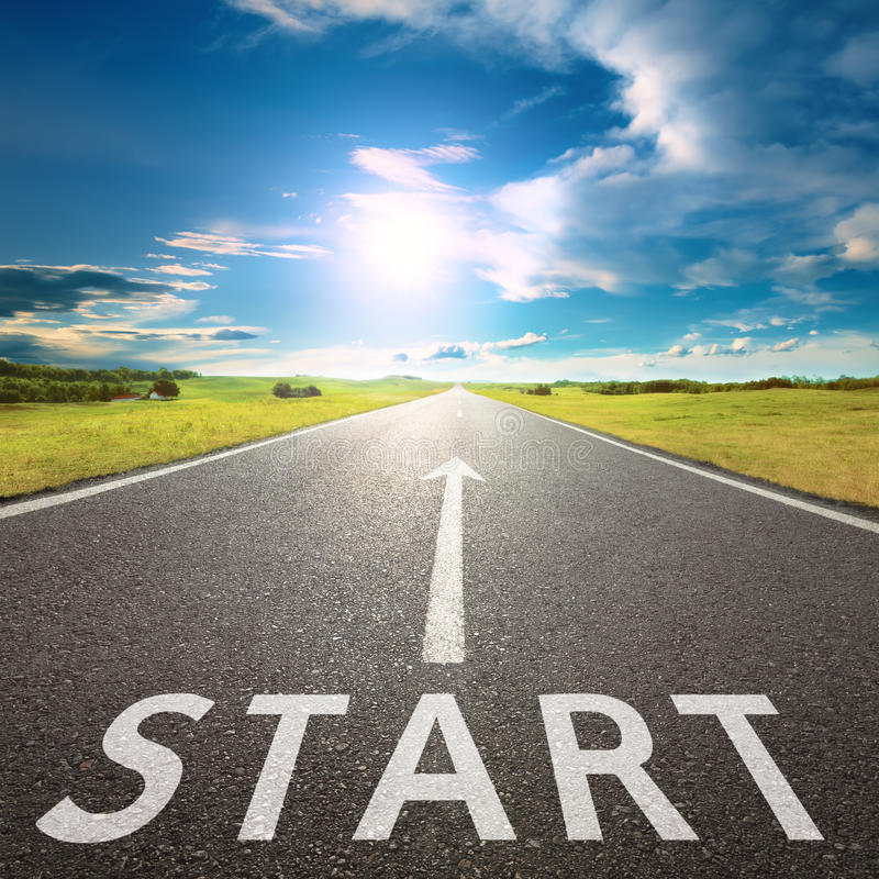 Free Empty Asphalt Road With A Sign Start Against Sun Stock Image - 49872221