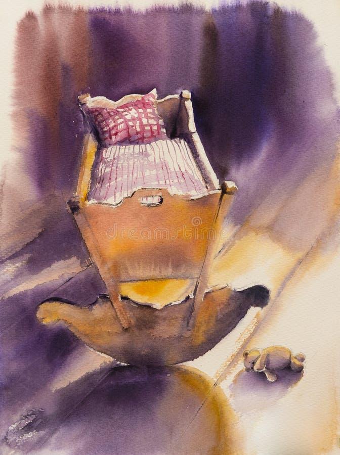 Wooden Cradle Stock Illustration Illustration Of