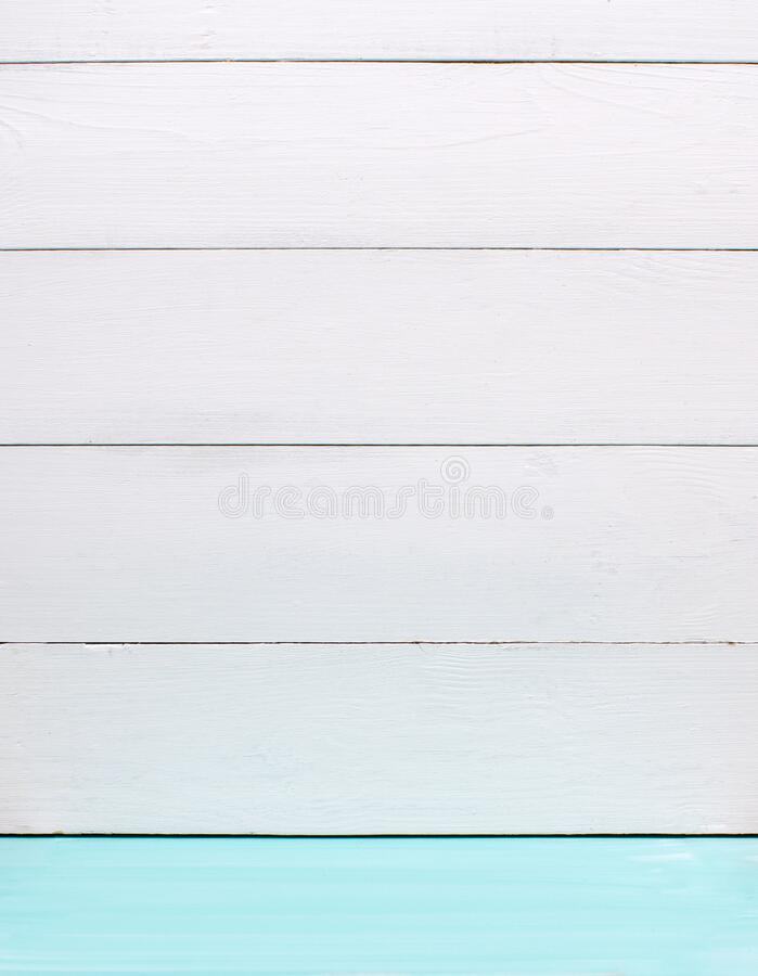 Empty background wood wall and turquoise floor. White wooden wall on green mint floor interior. 3D rendering. Empty background wood wall and turquoise, blue royalty free stock photography
