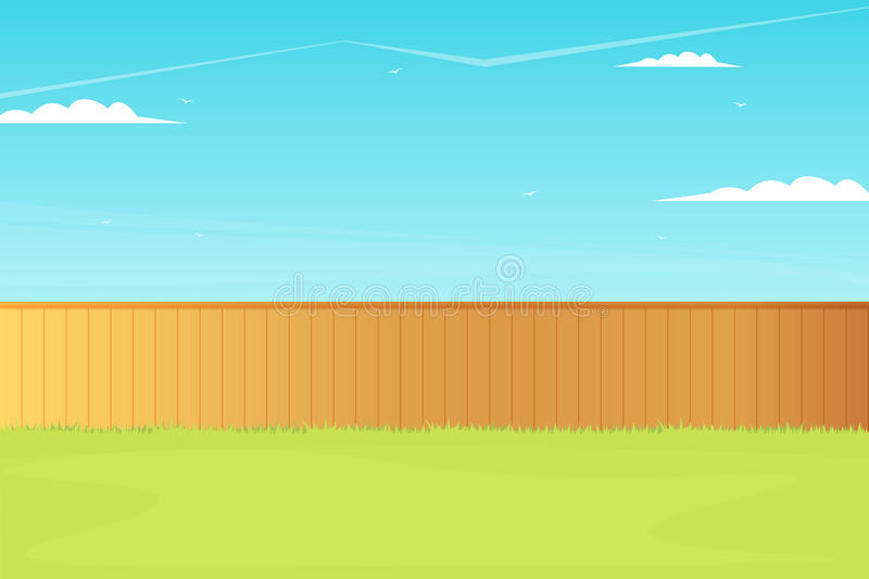 Empty backyard with fence. Vector illustration vector illustration