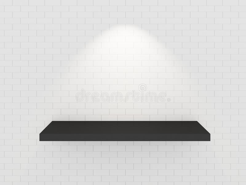 Empty balck shelf on white brick wall. 3d stock image