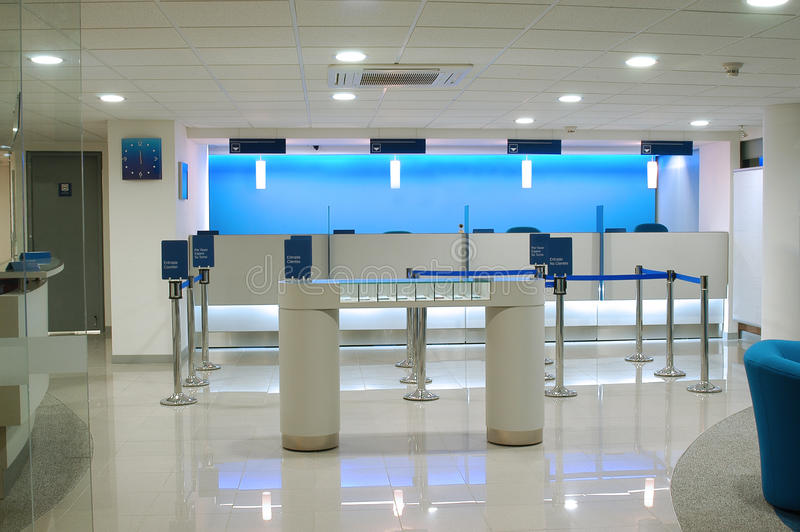 Bank interior. Empty Bank during closing hours royalty free stock photo