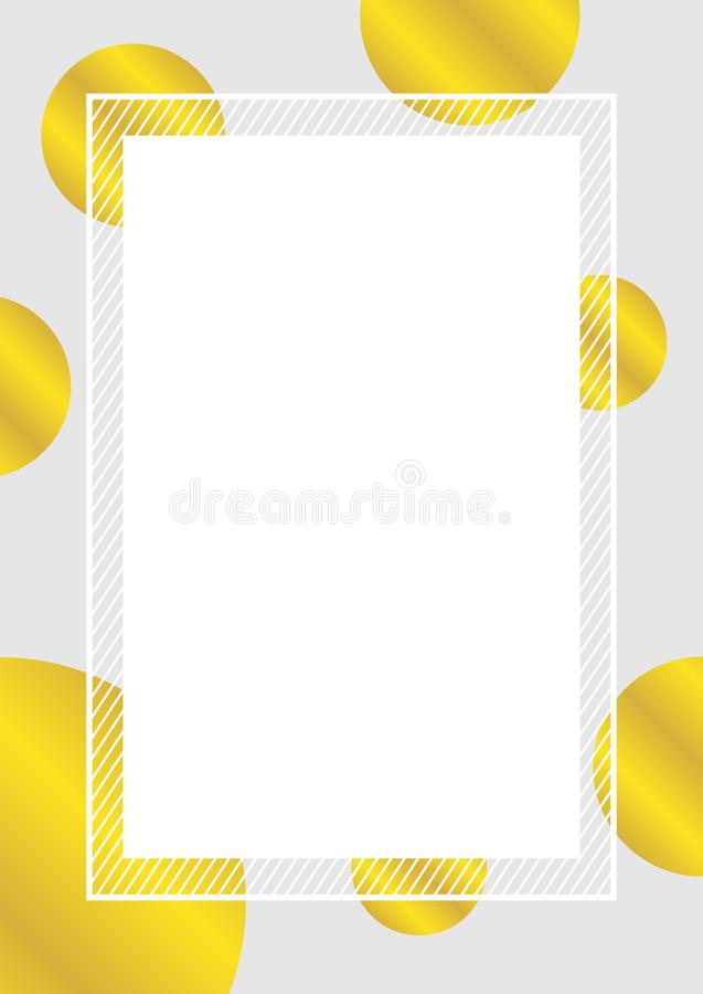 Empty banner frame polka dot gold colors for background, pastel banner frame polka dot golden colors copy space advertising. The empty banner frame polka dot royalty free illustration