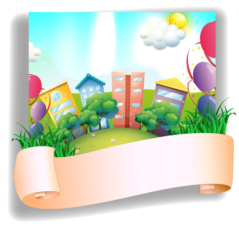 Download An Empty Banner In Front Of A City Stock Vector - Image: 31911272