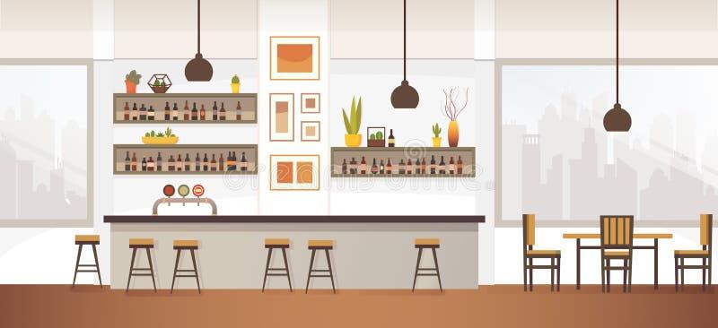 Empty Bar or Pub Interior Flat Vector Illustration stock illustration