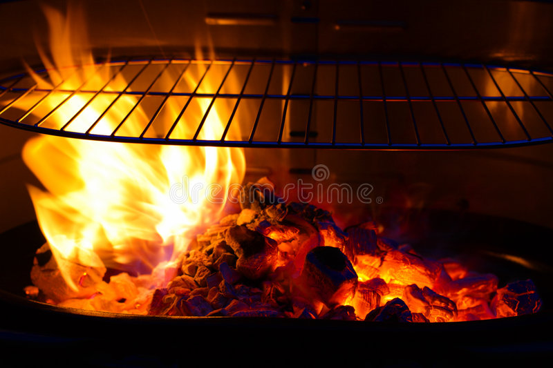 Empty Barbecue Grill with flame BBQ royalty free stock image