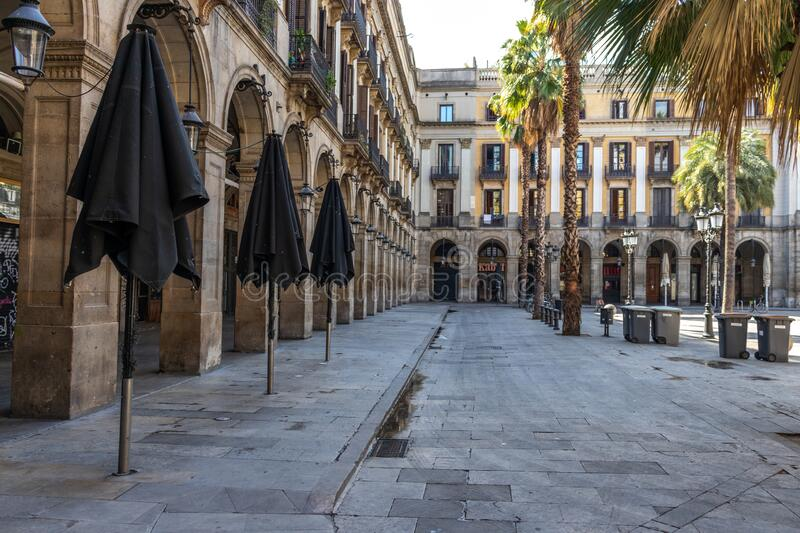 Empty Barcelona after confination for coronavirus royalty free stock images