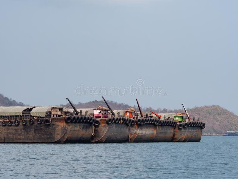 Empty barges in Thailand royalty free stock photo