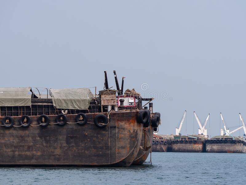 Empty barges in Thailand royalty free stock images