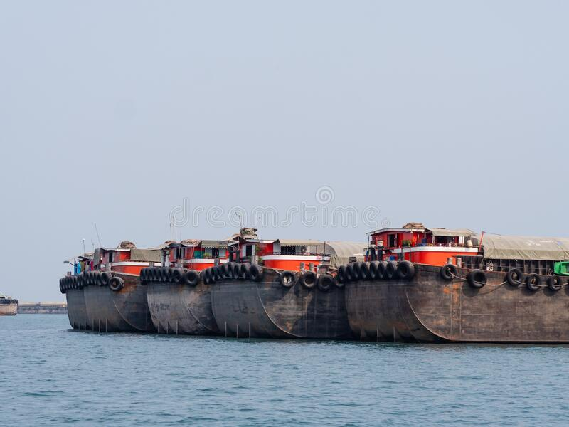 Empty barges in Thailand stock photo