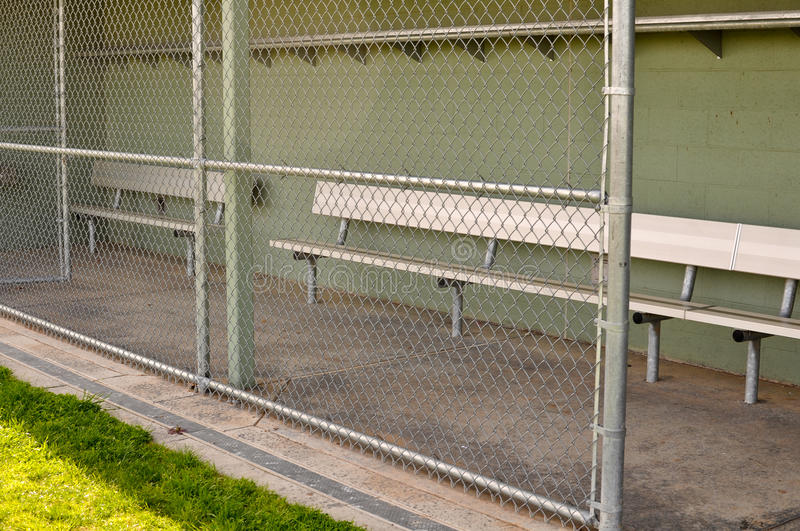 Empty Baseball Dugout Stock Photo